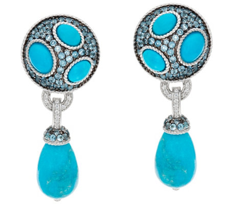 Judith Ripka Sterling Blue Topaz & Turquoise Drop Earrings