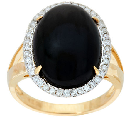 Oval Black Coral & Diamond Ring 14K Gold, 1/5 cttw