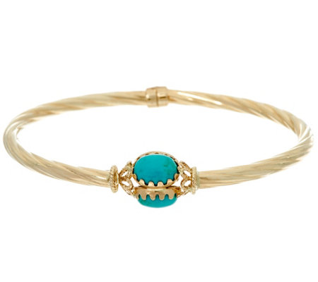 Italian Gold Small Turquoise Oval Twist Hinged Bangle 14K Gold, 5.3g
