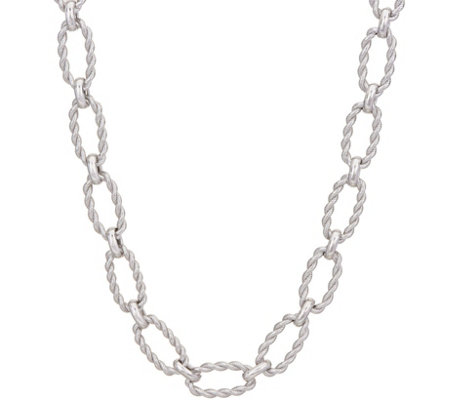 "Judith Ripka Verona 18"" Sterling Oval Texture Link Necklace 43.7G"