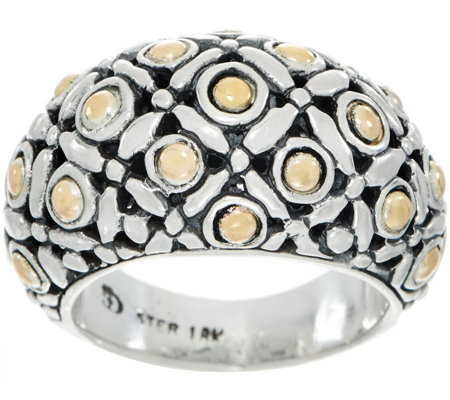Artisan Crafted Sterling Silver & 18K Gold Bold Domed Band Ring