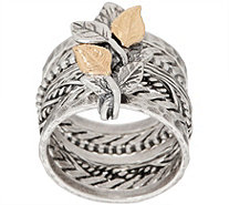 Or Paz 14K Gold & Sterling Silver Multi-Band Ring w/ Leaf Details - J351911