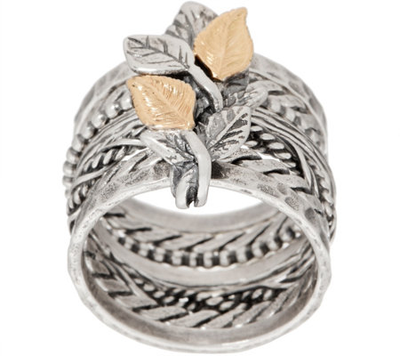 Or Paz 14K Gold & Sterling Silver Multi-Band Ring w/ Leaf Details