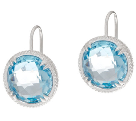 DeLatori Sterling Silver Green Quartz or Blue Topaz Drop Earrings