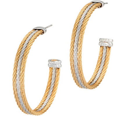 """As Is"" ALOR Stainless Steel Two-Toned Hoop Earrings"