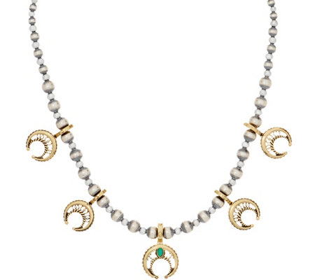 American West Sterling Silver & Brass Naja Bead Necklace