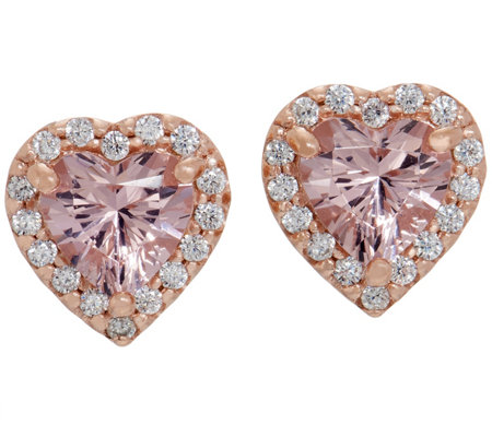 Diamonique and Simulated Morganite Heart Stud Earrings, 14K Rose Clad