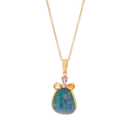 Opal Mosaic Pendant with Chain, Sterling Silver