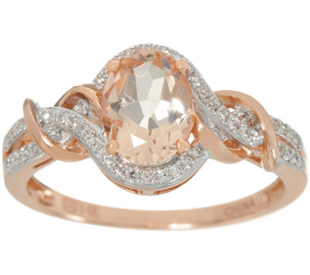Oval Morganite and Diamond Ring, 0.85 cttw, 14K