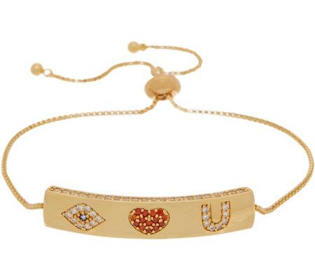 Melinda Maria Pave Bar Adjustable Friendship Bracelet