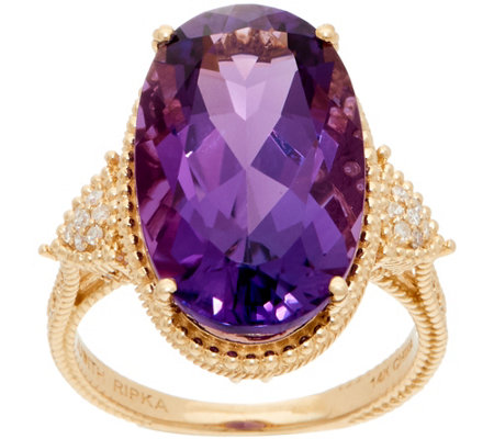Judith Ripka 14k Amethyst Diamond Cocktail Ring 10 0 Cttw
