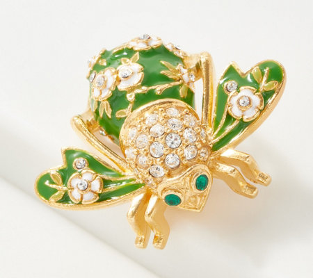 Joan Rivers Crystal and Enamel Apple Blossom Bee Pin