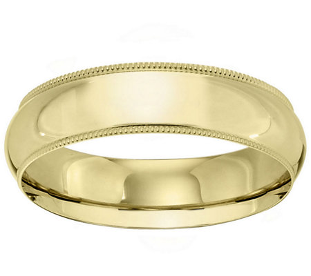 Men's 18K Yellow Gold 6mm Milgrain Wedding Band