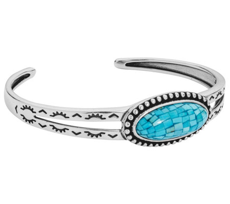 American West Sterling Turquoise Mosaic Cuff
