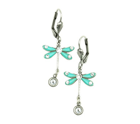Anne Koplik Aqua Dragonfly Dangle Earrings