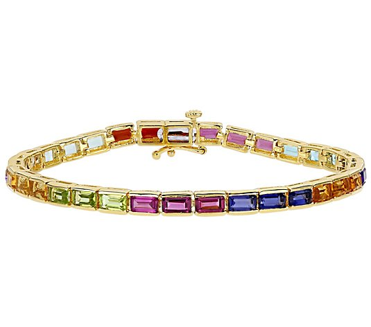 18K Gold Plated Sterling 10.70 cttw Multi-Gemstone Bracelet