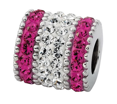 Prerogatives Sterling Fuchsia Crystal Barrel Bead