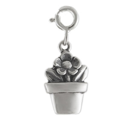 Sterling Flower in Flowerpot Charm