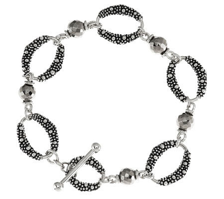 Michael Dawkins Sterling Starry Night Pyrite Station Link Bracelet