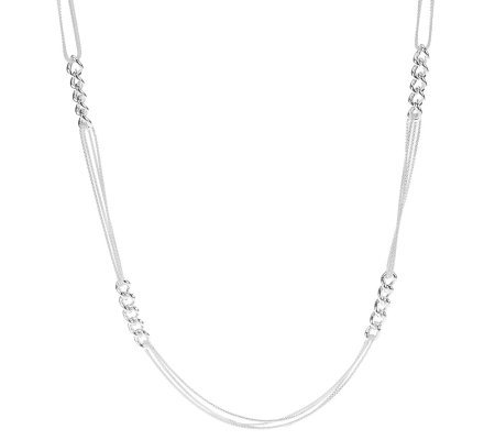 As Is Ultrafine Silver 30 Multi Strand Link Necklace