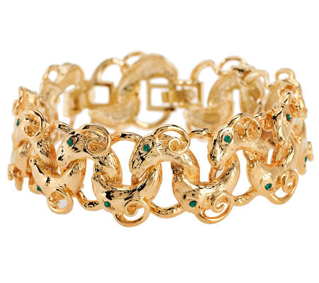 Jacqueline Kennedy Simulated Emerald Rams Head Bracelet