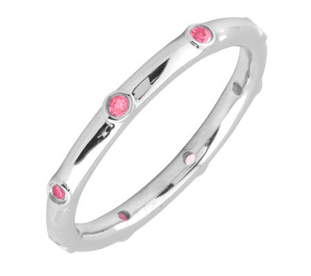 Simply Stacks Sterling Pink Tourmaline Multi-stone Stack Ring