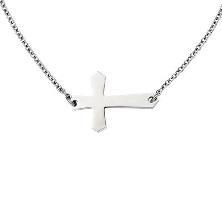 "Stainless Steel 21"" Polished Horizontal Cross Necklace"