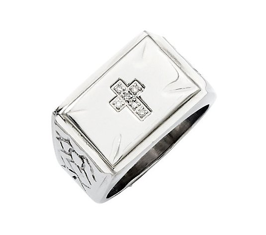 Steel By Design Men's Diamond Accent Cross Ring