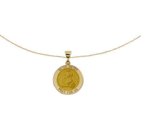 "Polished Saint Peter Pendant w/ 18"" Chain, 14KGold"