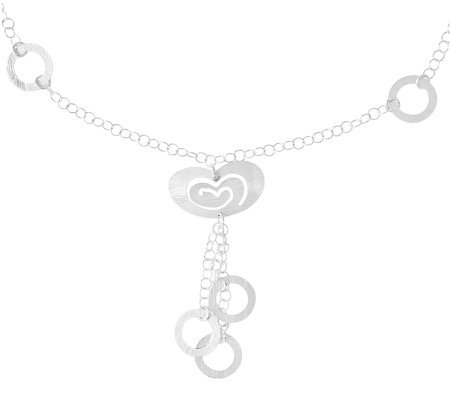 Sterling Brushed Heart Circle Drop Link Necklace