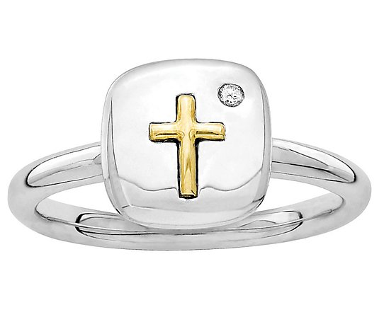 Simply Stacks Sterling Two-Tone Diamond AccentCross Ring