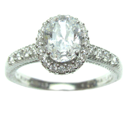 Judith Ripka Sterling 1.90 cttw Oval DiamoniqueHalo Ring