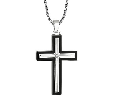 Men's Stainless Steel Black & Silvertone CrossPendant