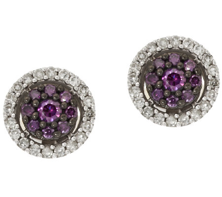 Purple Diamond Stud Earrings Sterling 1 2 Cttw By Affinity