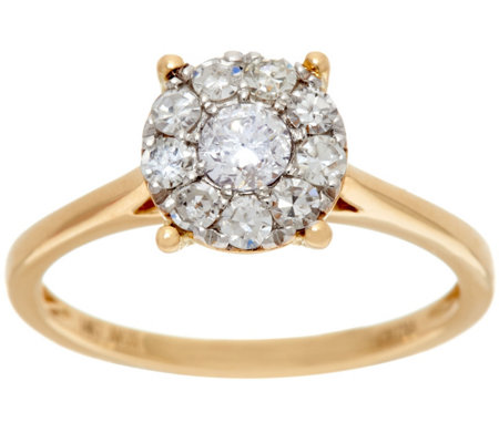 Round Cluster Design Diamond Ring, 14K, 1/2 cttw, by Affinity