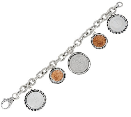 Sterling Silver Israeli Coin Charm Bracelet by Or Paz