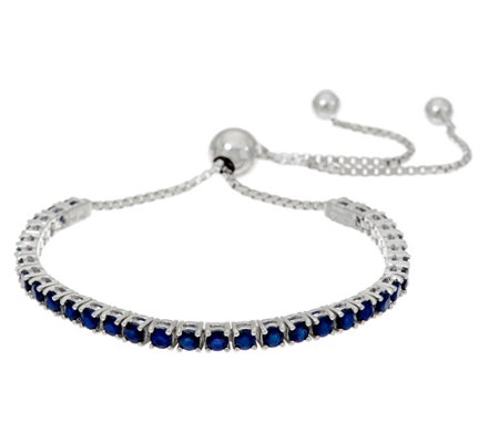 Colors of Sapphire Sterling Silver Adjustable Tennis Bracelet