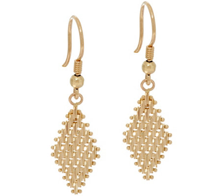 Imperial Gold Lame Marquise Dangle Earrings 14k
