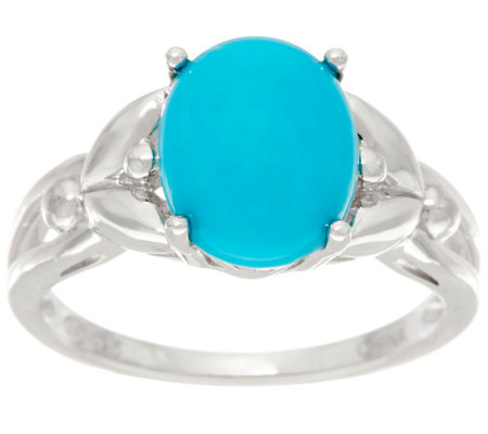 Oval Sleeping Beauty Turquoise Sterling Silver Ring
