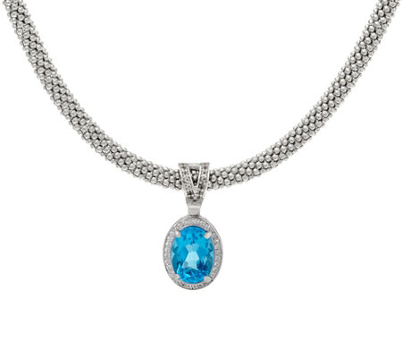 Italian Silver 7.20 ct Blue Topaz Enhancer with Necklace, Sterl