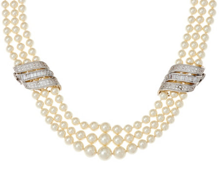 Grace Kelly Collection 3 Strand Simulated Pearl Necklace
