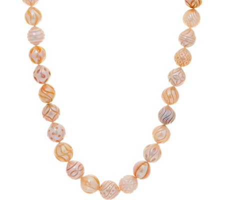 "Honora Cultured Pearl Carved Ming 18"" Necklace, Sterling"