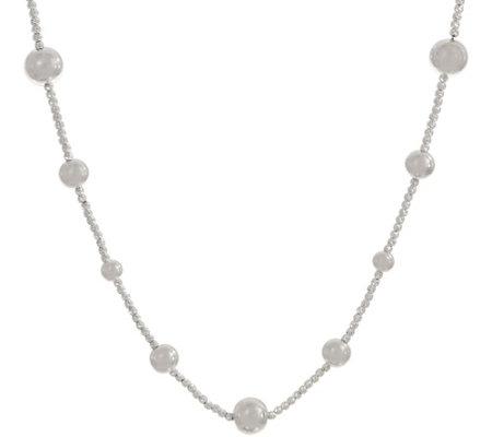 "UltraFine Silver 16"" Diamond Cut Bead Station Necklace 00.0g"