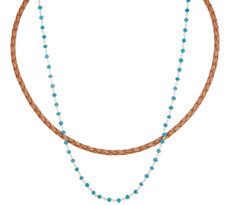Jodie M. Maya Leather and Rosary Necklace Set