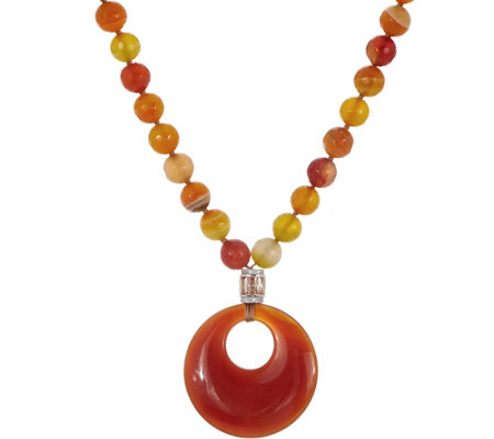 """As Is"" Ellie Madison Orange Agate & Carnelian PendantNecklace"