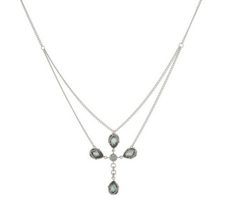 """As Is"" Anthony Nak Sterling 6.30 ct tw Lab-Created Cross Necklace"