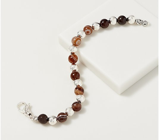 JAI Sterling Silver Hammered & Gemstone Bead Bracelet