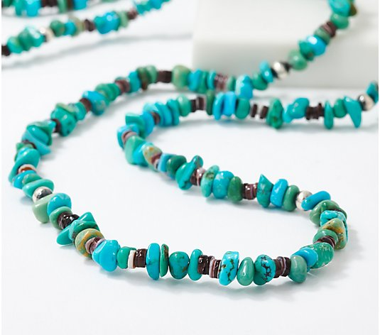 "American West 32"" Colors of Turquoise Sterling Silver Necklace"