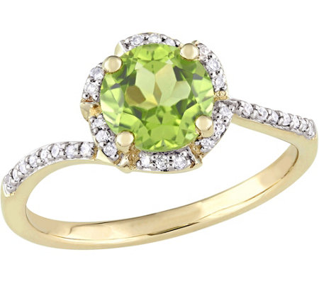14K Gold 1.50 Peridot & 1/10 cttw Diamond Floral Halo Ring