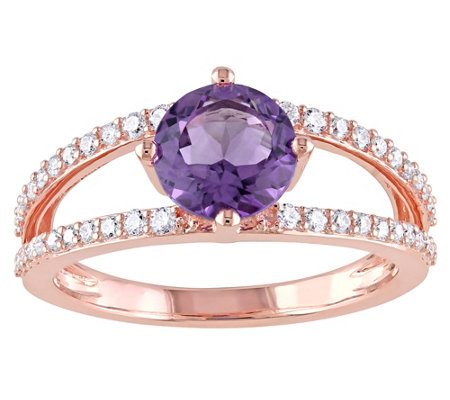 1.30 ct Amethyst and 1/4 cttw Diamond Ring, 14KRose Gold